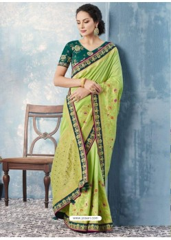 Latest Green Silk Embroidered Designer Saree