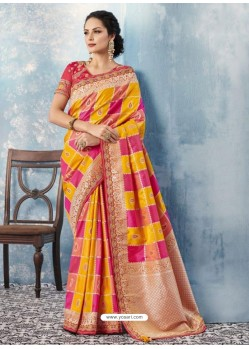 Yellow And Pink Silk Embroidered Designer Saree