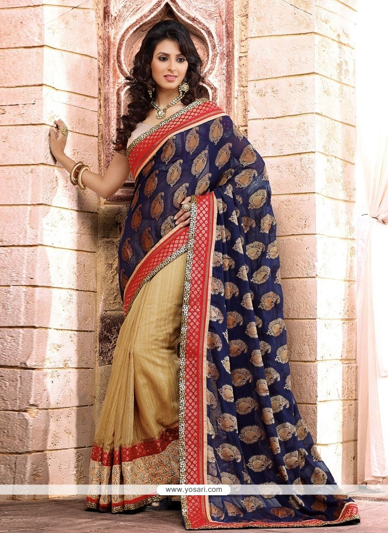 Blue And Cream Viscose Half And Half Saree