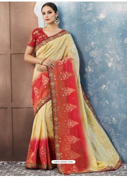 Khaki And Red Silk Embroidered Designer Saree