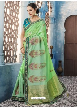 Jade Green Silk Embroidered Designer Saree