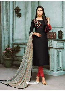 Black Chanderi Cotton Embroidered Churidar Suit