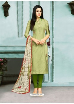 Green Chanderi Cotton Embroidered Churidar Suit