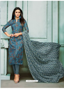 Teablue Chanderi Cotton Embroidered Churidar Suit