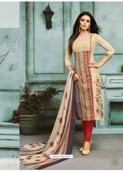 Light Beige And Red Chanderi Cotton Embroidered Churidar Suit