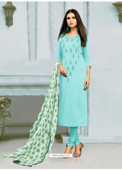 Sky Blue Chanderi Cotton Embroidered Churidar Suit