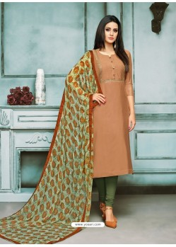 Brown And Green Chanderi Cotton Embroidered Churidar Suit