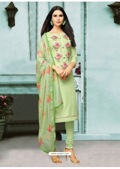Sea Green Chanderi Cotton Embroidered Churidar Suit