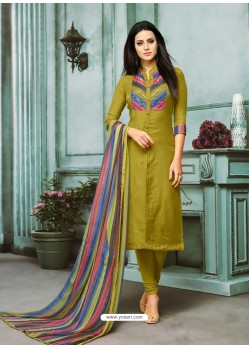 Mehendi Chanderi Cotton Embroidered Churidar Suit