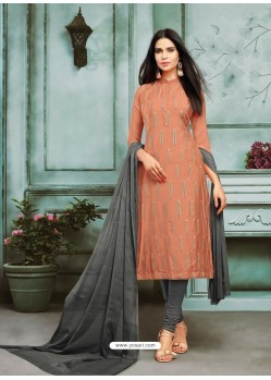 Light Orange Chanderi Cotton Embroidered Churidar Suit