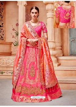 Light Red Silk Embroidered Designer Lehenga Choli