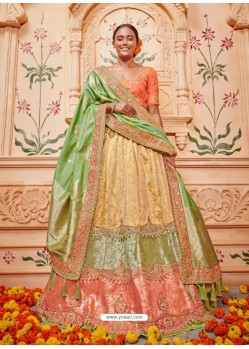 Green And Orange Silk Embroidered Designer Lehenga Choli