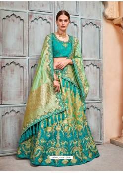 Teal Silk Embroidered Designer Lehenga Choli