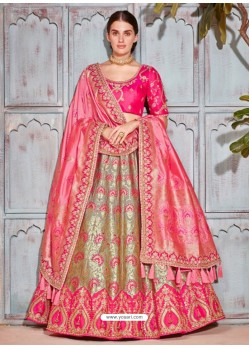 Rani And Silver Silk Embroidered Designer Lehenga Choli