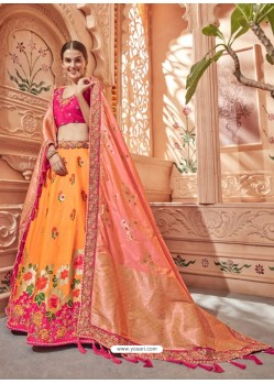 Orange And Fuchsia Silk Embroidered Designer Lehenga Choli