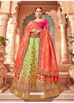 Sea Green And Fuchsia Silk Embroidered Designer Lehenga Choli