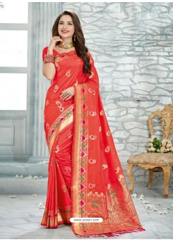 Tomato Red Uppada Silk Jaquard Work Designer Saree