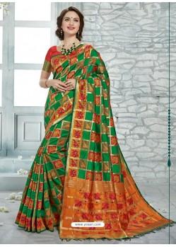Dark Green Uppada Silk Jaquard Work Designer Saree