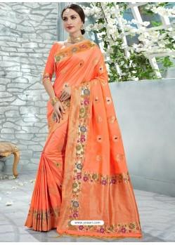 Orange Uppada Silk Jaquard Work Designer Saree