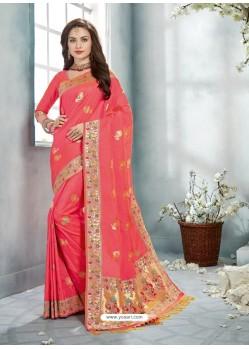 Light Red Uppada Silk Jaquard Work Designer Saree