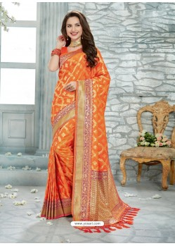 Latest Orange Uppada Silk Jaquard Work Designer Saree
