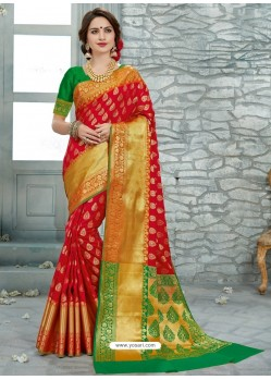 Red Uppada Silk Jaquard Work Designer Saree