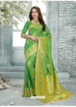 Parrot Green Uppada Silk Jaquard Work Designer Saree