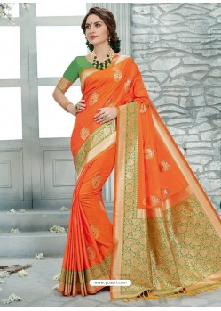 Glorious Orange Uppada Silk Jaquard Work Designer Saree