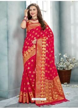 Maroon Uppada Silk Jaquard Work Designer Saree