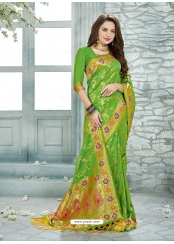 Pretty Parrot Green Uppada Silk Jaquard Work Designer Saree