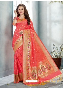 Dark Peach Uppada Silk Jaquard Work Designer Saree