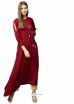Maroon Cotton Designer Readymade Kurti