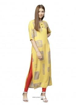 Yellow Rayon Designer Readymade Kurti