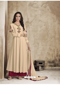 Cream Maslin Embroidered Designer Palazzo Suit