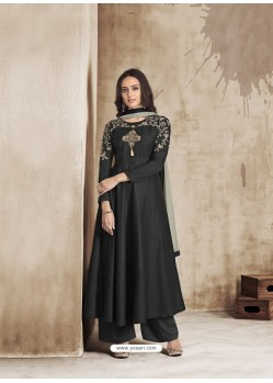 Black Maslin Embroidered Designer Palazzo Suit