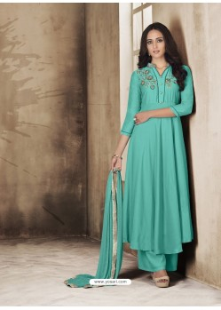 Aqua Mint Maslin Embroidered Designer Palazzo Suit