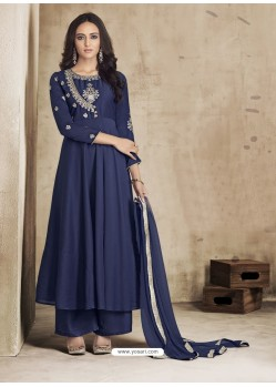 Navy Blue Maslin Embroidered Designer Palazzo Suit