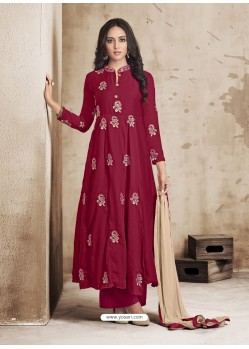Maroon Maslin Embroidered Designer Palazzo Suit