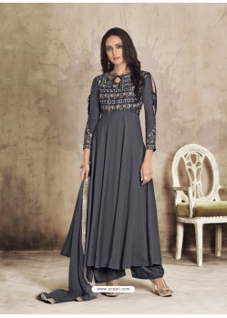 Carbon Maslin Embroidered Designer Palazzo Suit