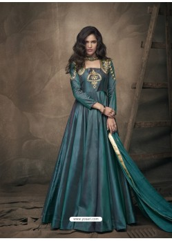Teal Soft Tapeta Silk Heavy Embroidered Readymade Gown Suit