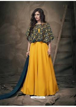 Yellow Soft Tapeta Silk Heavy Embroidered Readymade Gown Suit