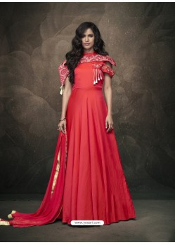 Red Soft Tapeta Silk Heavy Embroidered Readymade Gown Suit