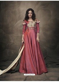 Wine Soft Tapeta Silk Heavy Embroidered Readymade Gown Suit