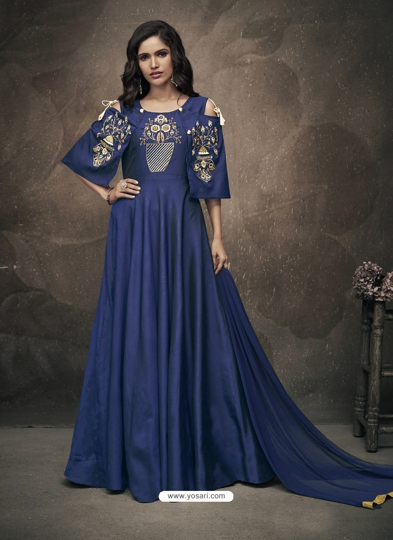 Buy Navy Blue Soft Tapeta Silk Heavy Embroidered Readymade Gown Suit