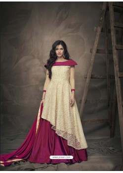 Cream And Violet Heavy Net Embroidered Readymade Gown Suit