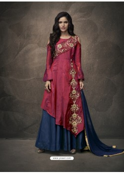 Maroon And Navy Soft Tapeta Silk Heavy Embroidered Readymade Gown Suit
