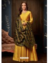 Yellow Art Silk Hand Worked Designer Gown Style Suit