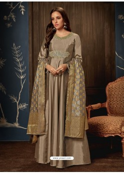 Light Brown Art Silk Hand Worked Designer Gown Style Suit