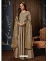 Light Brown Art Silk Hand Worked Designer Gown Style Suit