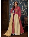 Maroon And Cream Art Silk Hand Worked Designer Gown Style Suit